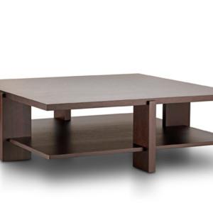 Τραπέζι σαλονιού με δύο επίπεδα. Φυσική επένδυση από δρυ, καρυδιά ή λάκα.  130x70x35εκ. 90x90x35εκ. 110x110x35.