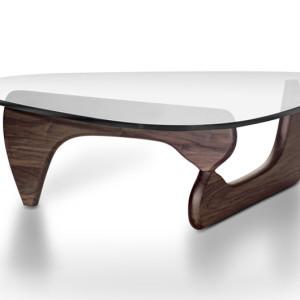 Τραπέζι σαλονιού από διάφανο κρύσταλλο και σκελετό από καρυδιά.  125x90x40εκ.