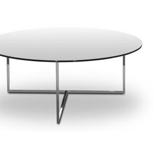 Τραπέζι με μεταλλικό σκελετό και επιφάνεια από διάφανο, φιμέ και μαύρο κρύσταλλο.  Φ100x40εκ.