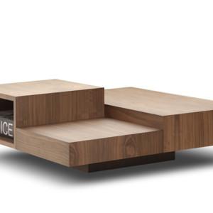 Τραπέζι σαλονιού με τρία επίπεδα. Σε φυσική επένδυση από δρυ, καρυδιά ή λάκα.  Δυνατότητα επιλογής διαφορετικών υλικών και χρωμάτων.  100x100εκ.