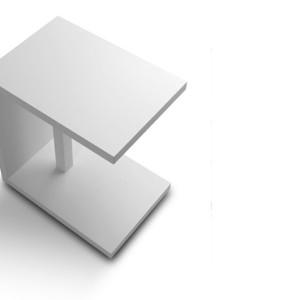 Βοηθητικό τραπεζάκι. Σε φυσική επένδυση καρυδιά, δρυ και λάκα.  Δυνατότητα επιλογής διαφορετικών υλικών και χρωμάτων.  35x50x50εκ.